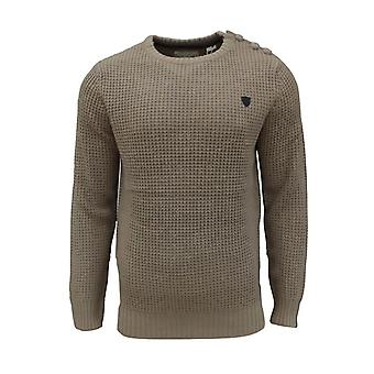 Soul Star Men's Canoe Crew Neck Waffle Knitted Jumper Top