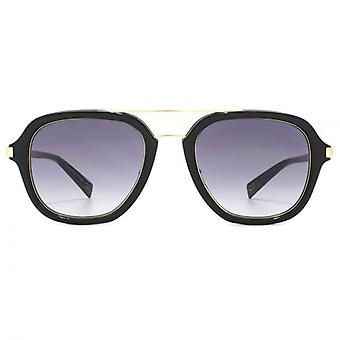 Marc Jacobs Square Pilot Sunglasses In Black Gold Grey