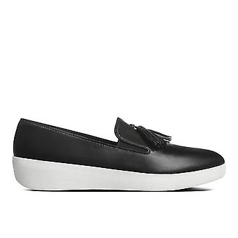 FitFlop Womens Tassel Superskate Shoe - Black Leather