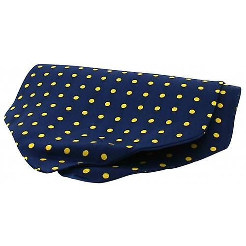 David Van Hagen Twill Silk Self Tie Cravat - Navy/Yellow
