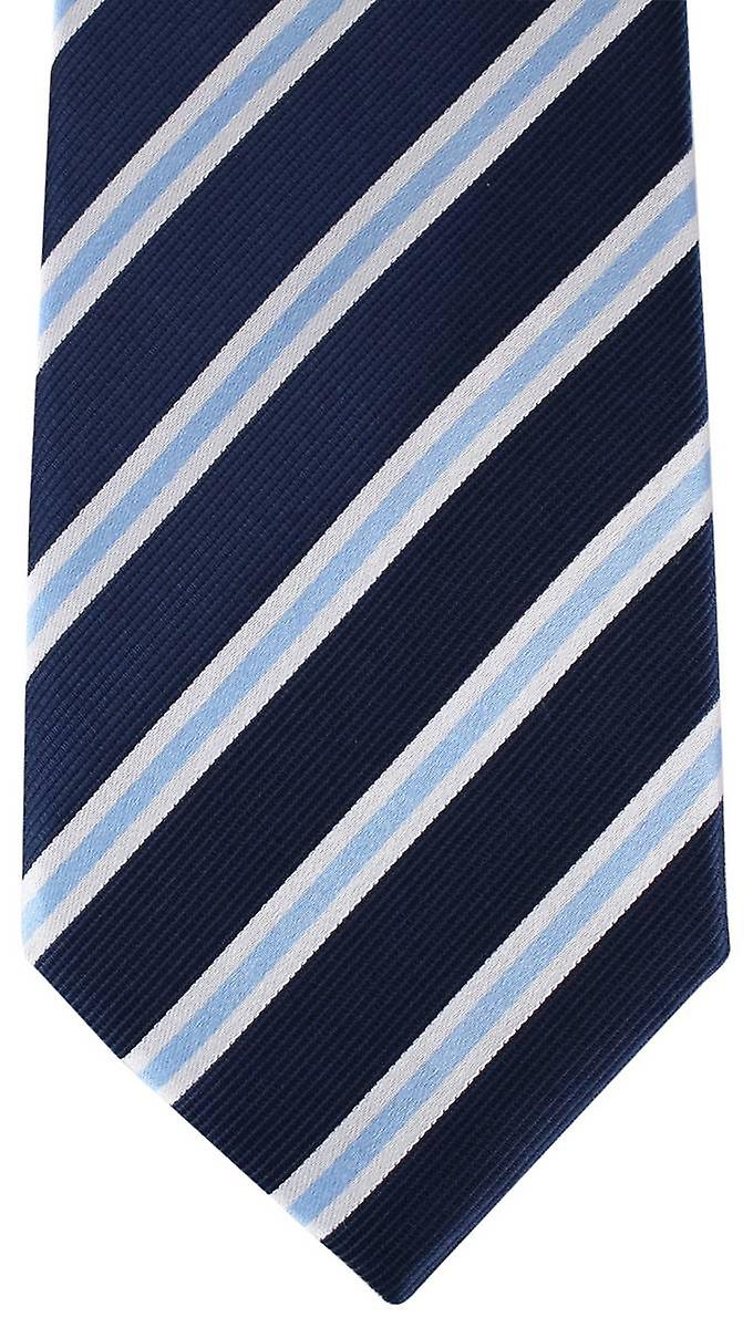 David Van Hagen Regimental Striped Tie - Navy/White/Lilac