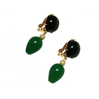 Clip earrings - gold plated - Onyx - jade - black - green - DRIPPING - 3.5 cm
