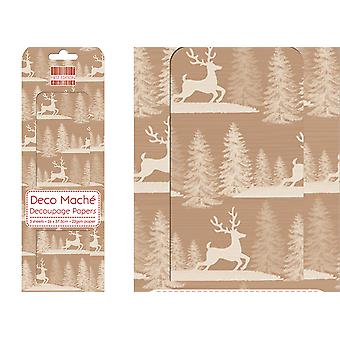 SALE - 3 Decopatch & Decoupage Paper Sheets - Kraft Christmas Reindeer or Stag