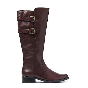 Women's Nappa Tall Buckle Boots - Dark Brown Leather
