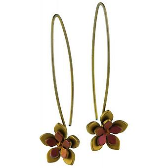 Ti2 Titanium Double Five Petal Flower Drop Earrings - Brown