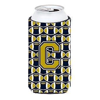 Letter C Football Blue and Gold Tall Boy Beverage Insulator Hugger