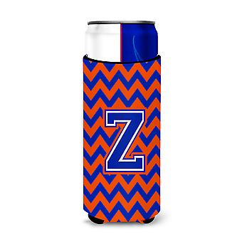 Letter Z Chevron Orange and Blue Ultra Beverage Insulators for slim cans
