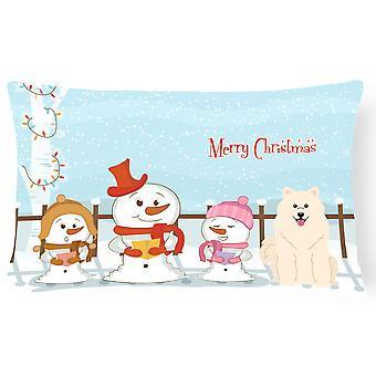 Merry Christmas Carolers Samoyed Canvas Fabric Decorative Pillow