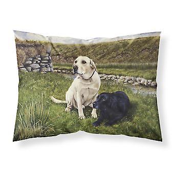 Gelbe und schwarze Labradore Stoff Standard Kissenbezug