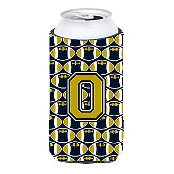 Letter O Football Blue and Gold Tall Boy Beverage Insulator Hugger