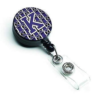 Letter K Football Purple and White Retractable Badge Reel