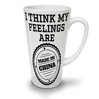 China Feelings Joke Funny NEW White Tea Coffee Ceramic Latte Mug 17 oz | Wellcoda