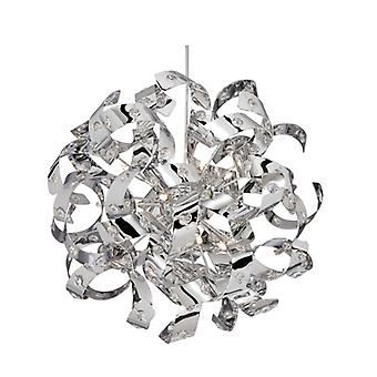 Curls Chrome And Crystal Glass Six Light Pendant - Searchlight 5816-6cc