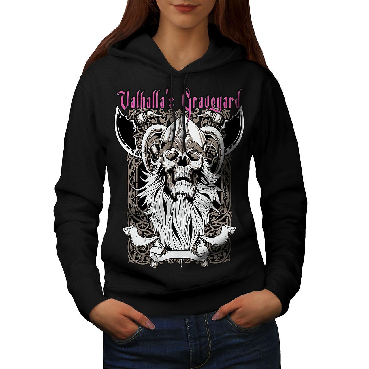 Valhalla Graveyard Women Black Hoodie | Wellcoda