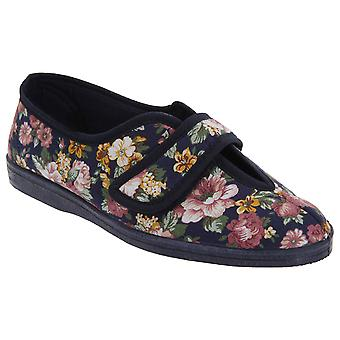 Sleepers Womens/Ladies Wilma Touch Fastening V Opening Floral Casual Cotton Slippers