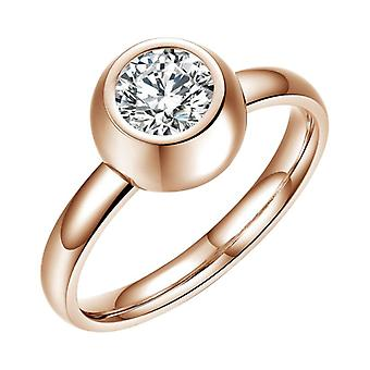 Stainless Steel Ring With Zirconia Ch1115-rg