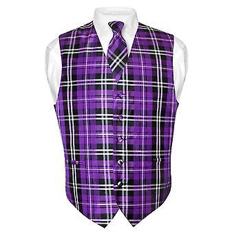 Men's Plaid Design Dress Vest & NeckTie Neck Tie Set