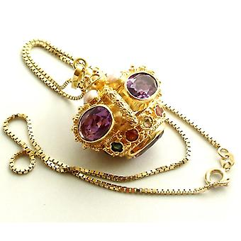 Gold Pendant with amethyst and aquamarine