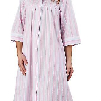 Slenderella HC1226 Frauen Streifen Seersucker rosa Morgenmantel Loungewear Robe 3/4 Länge Ärmel Bademantel