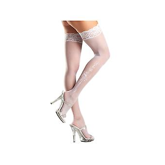 Be Wicked BW638 Sheer Lace-top Stockings Floral pattern