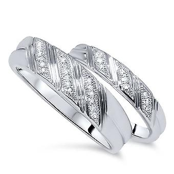 1 / 4ct zijn & haar Diamond Ring Set 10K White Gold