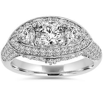 1 3/4 CT 3 pietra diamante oro bianco anello di fidanzamento Vintage 14K