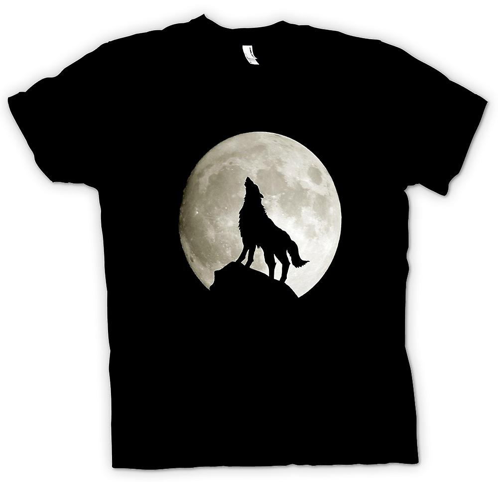 Mens T-shirt - Wolf Howling At The Moon