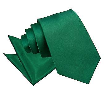Lazo de Satén de esmeralda verde llano y conjunto Plaza de bolsillo