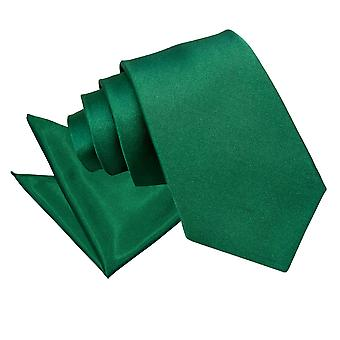 Emerald Green oformaterad Satin slips & Pocket Square Set