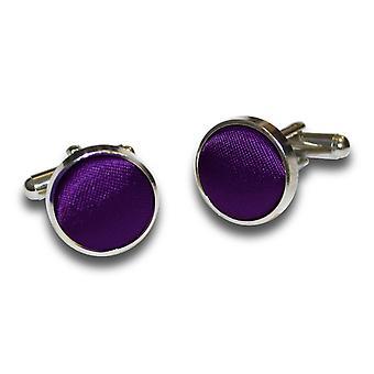 Purple Plain Satin Cufflinks