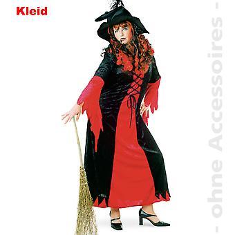 Traje de bruja mago traje vestido rojo Halloween las señoras negras