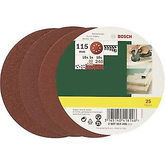 Bosch Accessories 2607019496 Router sandpaper set Hook-and-loop-backed, Punched Grit size 80, 120, 240 (Ø) 115 mm 1 Set