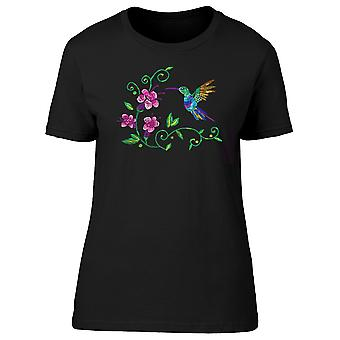 Hummingbird And Exotic Flowers Tee Women's -Image by Shutterstock