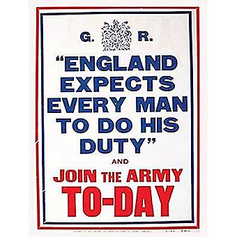 England Expects Every Man... Large Metal Sign 400Mm X 300Mm