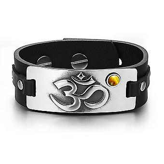 OM Ancient Tibetan Amulet Magic Powers Tag Tiger Eye Gemstone Adjustable Black Leather Bracelet