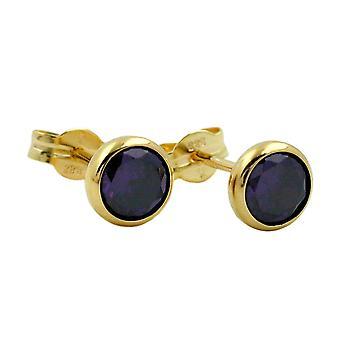 Earrings gold earring plug cubic zirconia-Amethyst of blue/purple 5 mm 8 kt gold 333