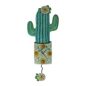 Allen entwirft Desert Bloom Kaktus Pendel Wanduhr