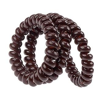 3x Invisible Hair Rings Spiral Plastic Coils Wires - Brown Colour - Traceless Hair Rings for All Hair Type
