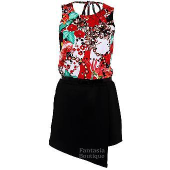 Ladies Sleeveless Floral Print Cross Back Wrap Belted Skort Women's Smart Playsuit