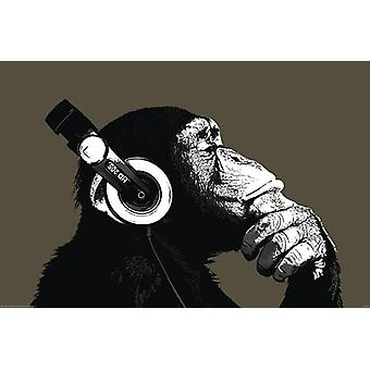 Monkey poster thinker with headphones