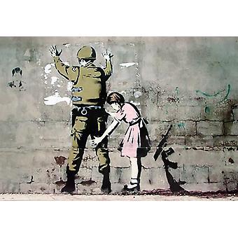 Banksy poster soldaat en meisjes klein formaat