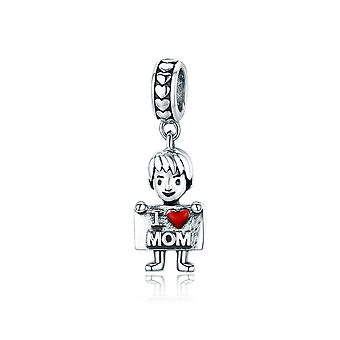 Sterling silver pendant charm Boy loves mom