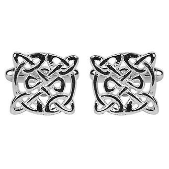 David Van Hagen Circular Celtic Cufflinks - Silver