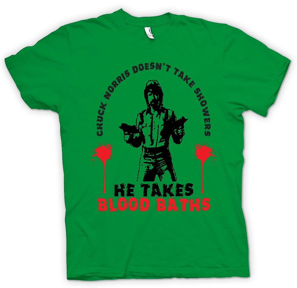 Mens T-shirt - Chuck Norris Blood Bath - Funny