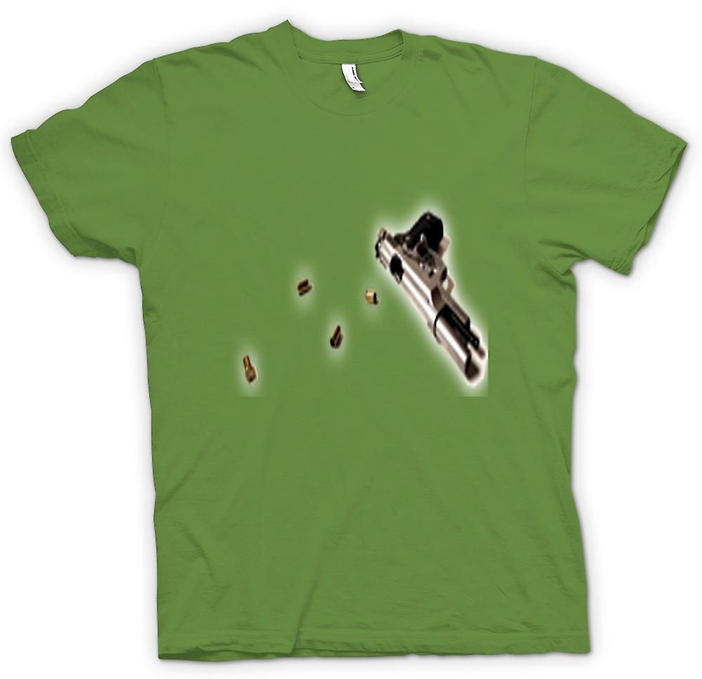Mens T-shirt - Hand Gun Pistol With Bullets