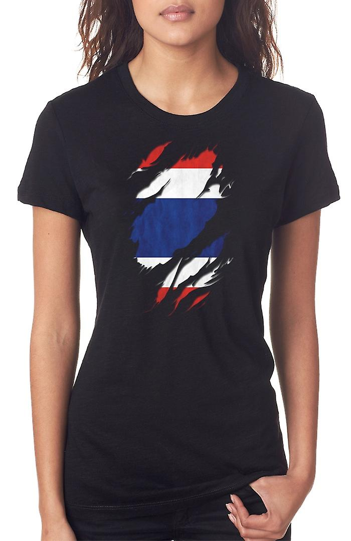 Thai Grunge Flag Ripped Effect Ladies T Shirt