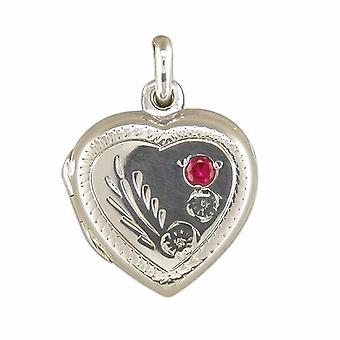 TOC Sterling Silver 16mm Heart Locket with Red Crystal, on 18