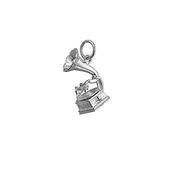 Silver 17x11mm Gramaphone Pendant or Charm