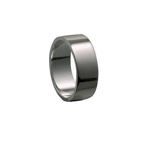 18ct White Gold 8mm plain flat Wedding Ring Size Z