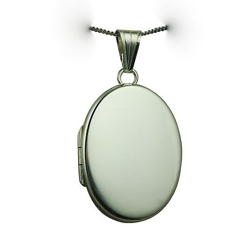 9ct White Gold 26x19mm oval flat plain Locket with a curb Chain 16 inches Only Suitable for Children